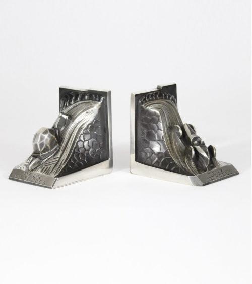 Serre livres 1930 Bronze argenté