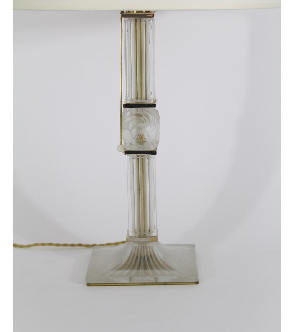 Lampe Verre et Bronze Cristal et Bronze Art Déco Design